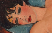 A closeup on 'Nu Couche' by Amedeo Modigliani.