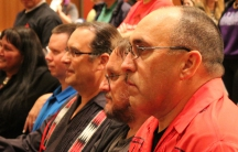 Myaamia Chief Doug Lankford (right), linguist David Costa (center), and Myaamia Center director Daryl Baldwin (left), watching a traditional Stomp Dance in Oxford, Ohio.