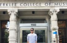 19-year-old Amir Darabi at Berklee College of Music in Boston.