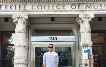 19-year-old Amir Darabi at Berklee College of Music in Boston.
