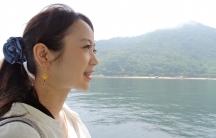 Aya Kano on board a ferry heading for the island of Ninoshima.