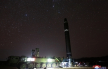 A view of the newly developed intercontinental ballistic rocket Hwasong-15