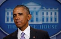 Obama speaks at his last press conference on Jan. 17, 2017.