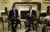 US President Barack Obama meets Britain's Prince William