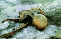 Ötzi the Iceman at the finding place.
