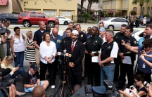 Imam Muhammad Musri speaks at a news conference