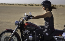 A female rider on International Female Ride Day in Dubai.