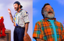 Robin Williams during two of his numerous appearances on the children's show Sesame Street.