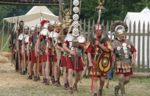 Re-enactors portraying Roman soldiers of the first century.