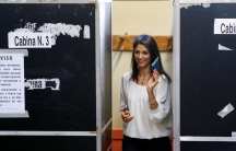 Virginia Raggi, 5-Star Movement candidate for Rome's mayor, casts her vote at a polling station in Rome, Italy, on June 19, 2016.