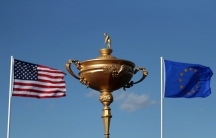 A giant version of the Ryder Cup trophy