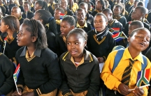 Children at a township school in Atteridgevile, South Africa. In post-apartheid South Africa, children are no longer required to learn the Afrikaans language.