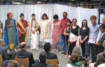 "The cast of the Sanskrit play, ""The Cleverness of the Thief."" Patricia Sauthoff is in the center, wearing white."