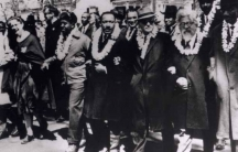 Rabbi Abraham Joshua Heschel marching with other civil rights leaders from Selma to Montgomery, Alabama, on March 21, 1965.
