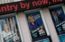 Posters of Fox News personalities including Gretchen Carlson