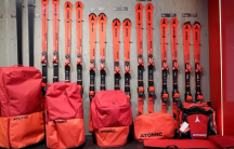 Atomic skis are seen at the company's headquarters in Altenmarkt im Pongau, Austria November 28, 2017.