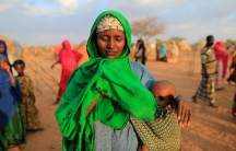An internally displaced woman from drought-hit area at a makeshift settlement area in Dolow, Somalia, April 4, 2017.