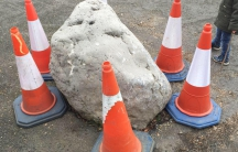 The Soulbury Stone sits in the middle of the road in Soulbury. But an auto accident forced locals to surround it with traffic cones as a stopgap measure to protect it.