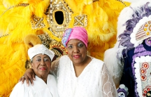 Cherice Harrison Nelson (R) with her aunt, who is a bishop at a Spiritual Church in New Orleans. The spiritual church has also adapted the St. Joseph's tradition, and builds elaborate altars.