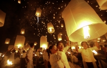 Khom loy lanterns launched into the sky