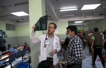 Dr Andrew Trotter at work at the Tribhuvan University Hospital after the earthquake