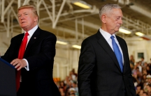 US President Donald Trump is introduced by Defense Secretary James Mattis