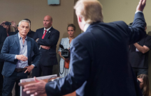 Donald Trump refuses to answer a question from Univision's Jorge Ramos at a 2015 press conference in Iowa
