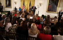 President Donald Trump speaks at a Women's Empowerment Panel at the East Room of the White House in Washington, March 29, 2017.