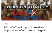 A poll posted on USAPolitics.co, one of the fake news sites started by teenagers in Veles, Macedonia.