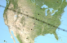 A United States map showing the path of totality (dark grey) for the August 21 total solar eclipse.