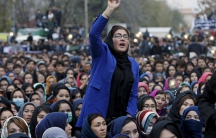 Women chant slogans during a protest in Kabul, Afghanistan