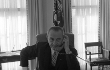 President Lyndon B. Johnson on the telephone