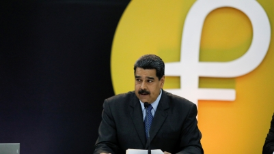 Venezuela's President Nicolas Maduro speaks during the event launching the new Venezuelan cryptocurrency Petro in Caracas.