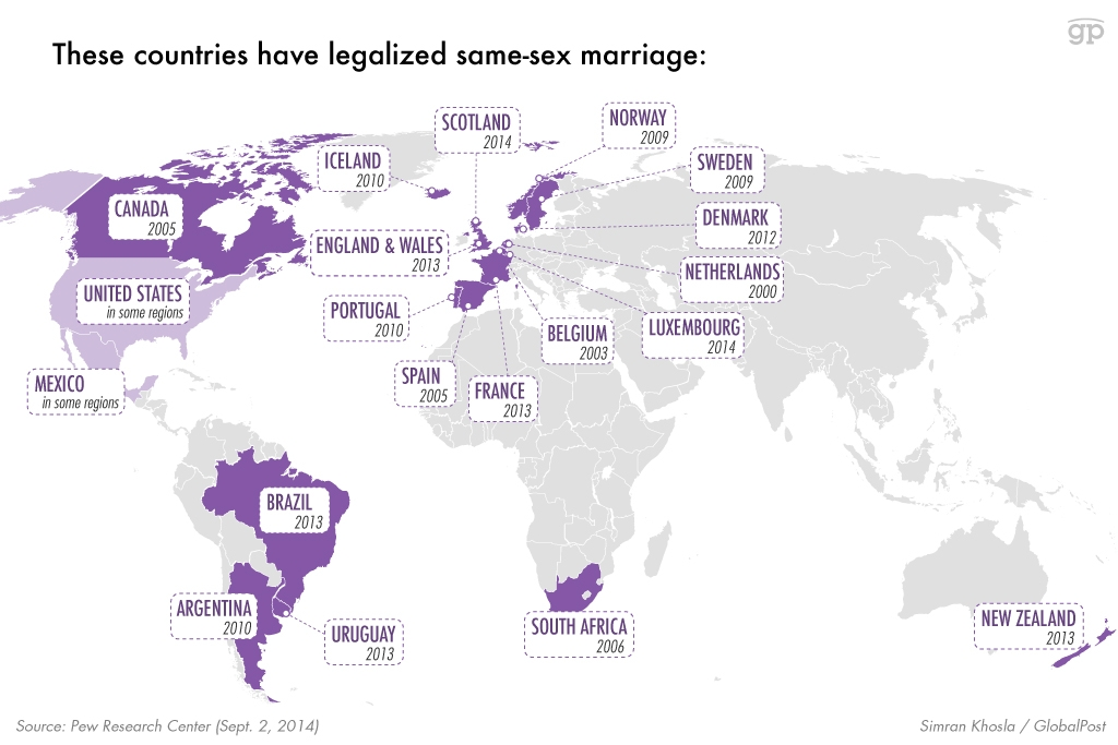 Countries that allow same sex marriage