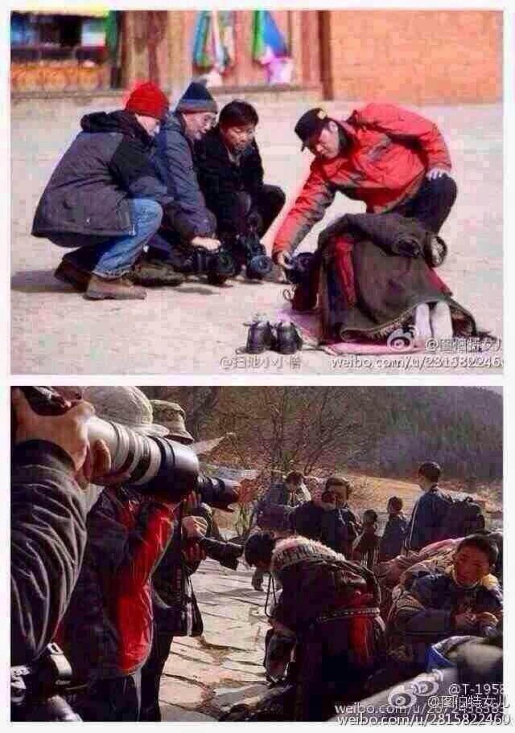 Tibet woman prays while tourists shoot pics