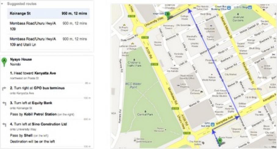 Google Maps Walking Directions Now Online In African Countries - Get walking directions google maps