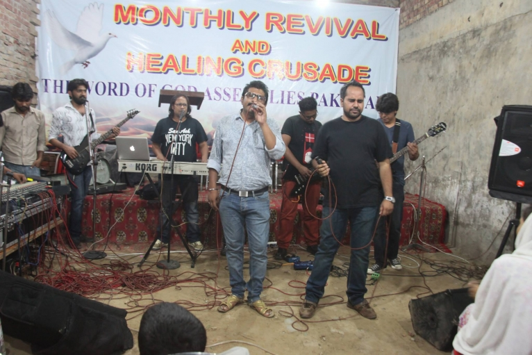"Hallelujah performs at a worship event at ""The Word of God Ministry"" in Lahore."