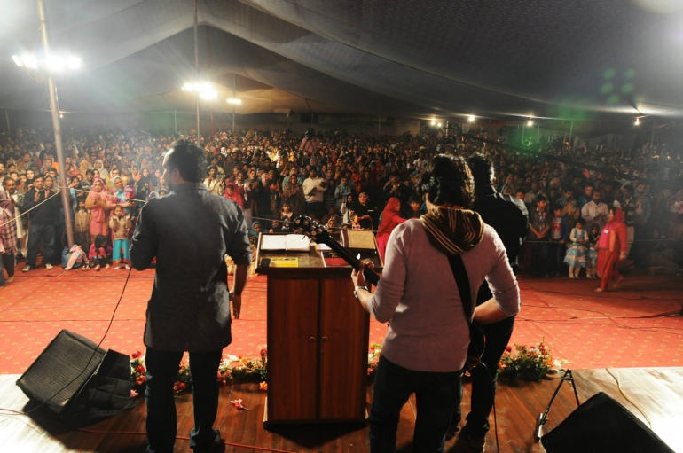 Hallelujah performs at the Christian Fellowship of Pakistan in Kot Lakhpat.