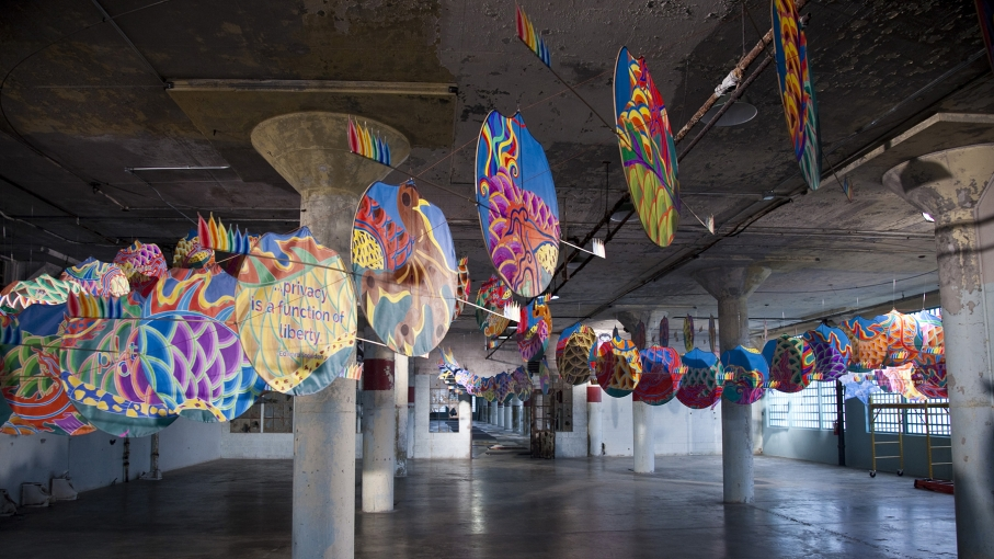 "Ai Weiwei, ""With Wind,"" 2014 (installation detial, New Industries Building, Alcatraz)"