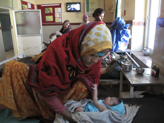 After a two-day stay in the hospital's maternity ward, Jatav gets ready to take her daughter home.