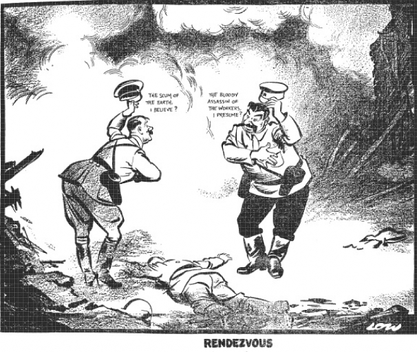 A British cartoon from October 1939 showing Hitler and Stalin greeting each other over the corpse of Poland