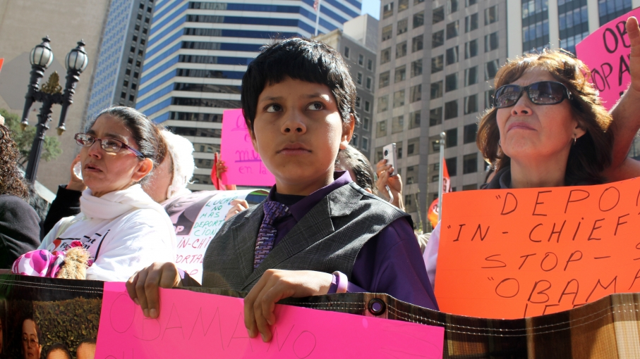Protesters at a recent immigrant rights demonstration in downtown San Francisco included families, with several made up of parents from Latin America and their US-born kids (as referred to as mixed-status families).