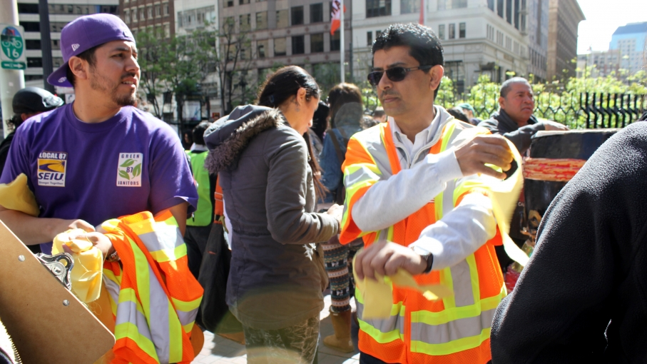 Legal observers wore neon colors at a recent immigrant rights demonstration in San Francisco.