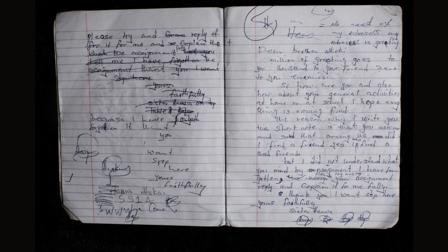 A notebook from one of the kidnapped girls.