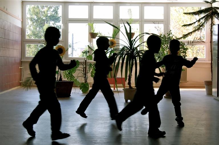 Students run between classes at Šarišské Michaľany Elementary.