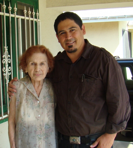 Tim Hernandez with Bea Franco at her home in 2010