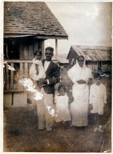 Rangali Singh with her family at Plantation Leonora in British Guiana in the early 1900s.