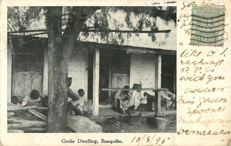 "Postcard image of ""coolie dwelling,"" circa 1900."