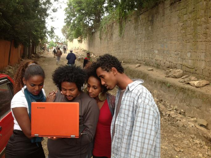 Students outside of our studio in Addis Ababa.