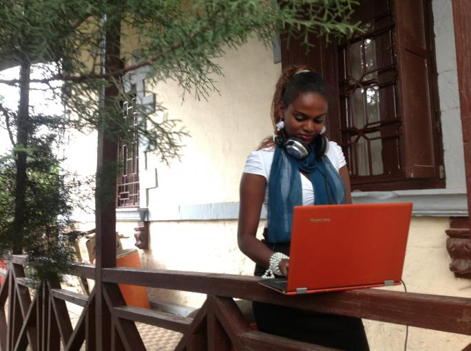 One of our students, Rodas Tameru outside of our studio in Addis Ababa.